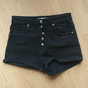 Zara   Denim Black Button Up Shorts